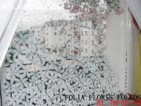 Folia dekoracyjna gradientowa Białe Kwiaty Folkos Folie
