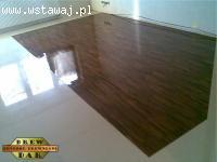 Układanie podłogi z mozaiki i parkietu przemysłowego - drew-