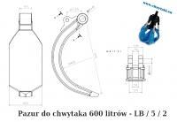 Pazury do chwytaka do złomu 600 litrów - różne rodzaje