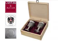 Zestaw komplet cynowych kielichów do wina ARTINA 60114 elega