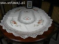 Piękny obrus bawełna szydełkowy beż kolorowe kwiaty 110x160